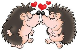 Two moles with hearts Stock Photo