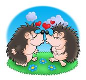 Two moles with hearts in grass. Color illustration Royalty Free Stock Images