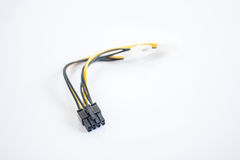 Two Molex connectors to one 6-pin PCI Express connector on white Royalty Free Stock Photography