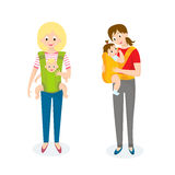 Two Mom with Baby in baby carrier. Vector illustration.  Stock Images