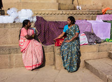 Two momen on the ghats of Varanasi Stock Photography