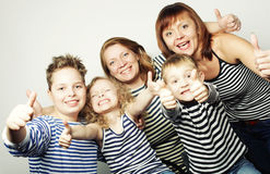 Two moms and three kids Royalty Free Stock Photo