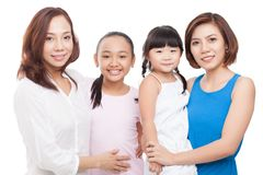 Two moms, two daughters Stock Images