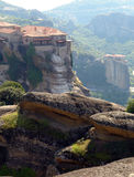 Two monasteries against mountains Royalty Free Stock Photography