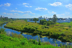Two monasteries on the river Kamenka  in Suzdal, Russia Royalty Free Stock Image