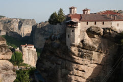 Two Monasteries on rock Meteora Stock Images