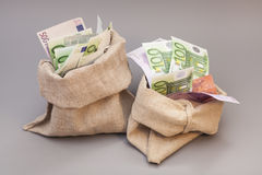 Two Money bags with euro Stock Image