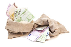 Two Money bags with euro. Isolated on white background Royalty Free Stock Photography