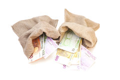 Two Money bags with euro. Isolated on white background Stock Images