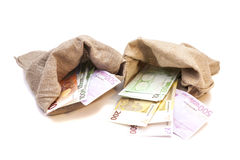 Two Money bags with euro Royalty Free Stock Photo