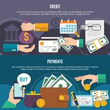 Two Money Flat Banner Set. Two horizontal money flat banner set with credit and payment descriptions and with flat elements vector illustration Stock Images
