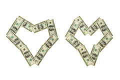 Two money hearts Royalty Free Stock Images