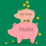 Two money pigs with coins - funds and taxes. Vector concept of taxes pay, saving money, accounting services. Two money pigs with coins - funds and taxes in flat Stock Photo