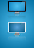 Two monitors. Two icon monitors. Black and white on a blue background Stock Photos