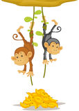 Two monkeys. An illustration of two monkeys caught stealing Stock Photos