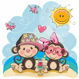 Two Monkeys on the beach. Greeting card Two Monkeys in sitting on the beach vector illustration