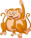 Two monkeys cartoon relaxing vector illustration