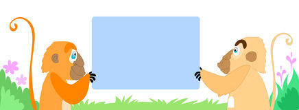 Two monkeys with an empty sign. Vector art Royalty Free Stock Images