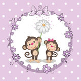 Two Monkeys. Greeting card with two Monkeys in a frame vector illustration