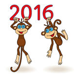 Two Monkeys hang on the digits of 2016 inscription. Two funny Monkeys hang on the digits of 2016 inscription, cartoon vector artwork on the white background Stock Photography