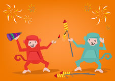 Two Monkeys Lights Up a Fireworks Rocket to Celebrate a Holiday. Editable Clip Art.  Editable Clip Art. Royalty Free Stock Images