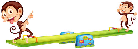 Two monkeys playing see-saw vector illustration