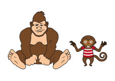 Two monkeys vector. Monkey on a white background. Cartoon character monkey Royalty Free Stock Photo