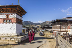 Two monks at gangtey village Royalty Free Stock Image
