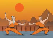 Two monks practicing kung fu or wushu, Shaolin monastery. Martial art. Vector illustration. Two monks practicing kung fu or wushu, Shaolin monastery. Chinese Stock Photo