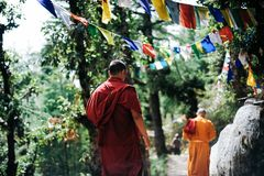 Two Monks Walking Between Trees Stock Photo