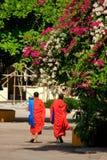 Two monks walking at Wat Si Saket, Vientiane Stock Images