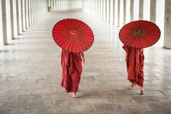 Two monks walking Stock Photos