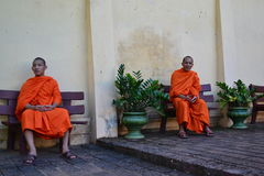Two Monks at Wat Pho Temple Stock Image