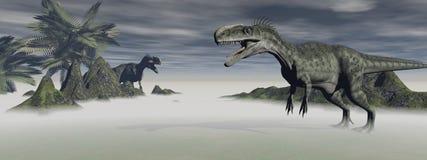 Two monolophosaurus dinosaur Stock Photo