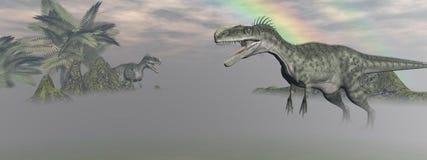 Two monolophosaurus dinosaur Stock Image