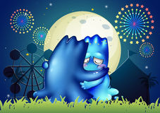 Two monsters comforting each other at the carnival. Illustration of the two monsters comforting each other at the carnival stock illustration