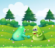 Two monsters handshaking. Illustration of the two monsters handshaking Stock Images