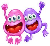 Two monsters happy of their teamwork Stock Images