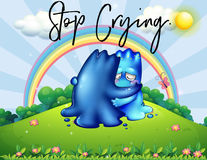Two monsters hugging in park with phrase stop crying. Illustration Stock Images
