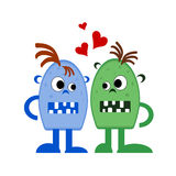 Two monsters in love Royalty Free Stock Image