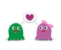 Two monsters in love Stock Image