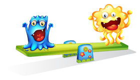 Two monsters playing happily Royalty Free Stock Images