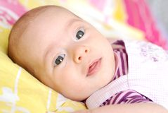 Two months baby girl looking up Royalty Free Stock Image