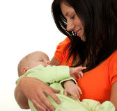 Two months old baby in his mothers arms Royalty Free Stock Photography