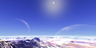 Two moon. Abstarct landscape with two moons and mountains royalty free illustration