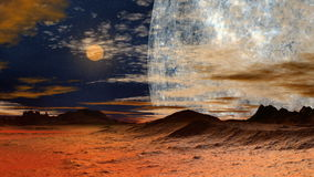 Two moon over hills Stock Images