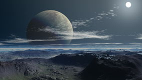 Two moon (planet). Against a mountain landscape stock footage