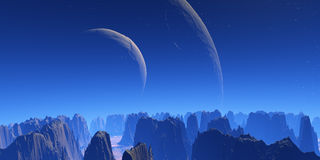 Two moons. Blue dreams stock illustration