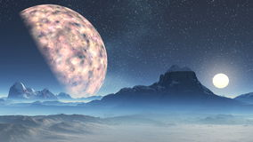Two Moons. At night the starry sky a huge planet and a bright distant moon. Underneath low mountains with snowy peaks and hills. In the lowlands, lakes, all stock footage