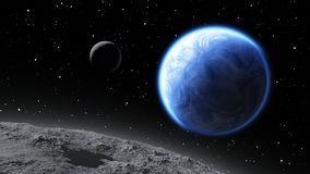 Two moons orbiting an Earth-like planet. Illustration Stock Photos